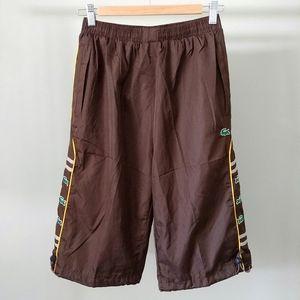 NWT Lacoste Brown Shorts Croc Logo Size Medium